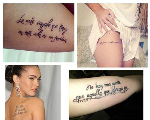Elección de tatuajes para mujer con frases