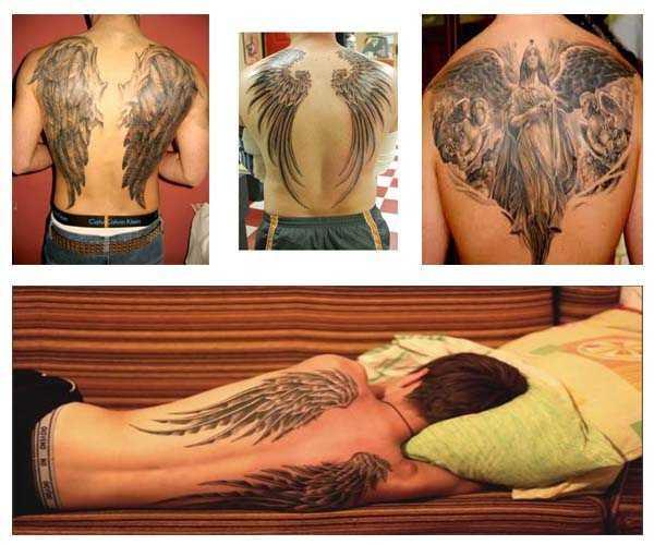 Tatuajes de alas de Ángel en la espalda para hombres