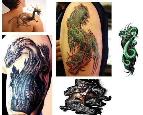 tatuajes Un dragón en el brazo para hombre 3d