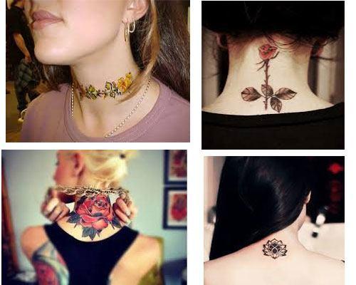 tatuajes para mujeres en el cuello diseño y images