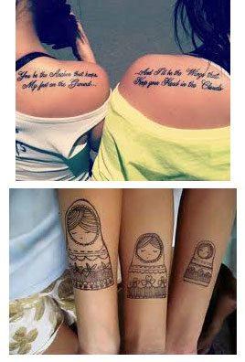 Tatuajes para hermanas en el brazo o hombro