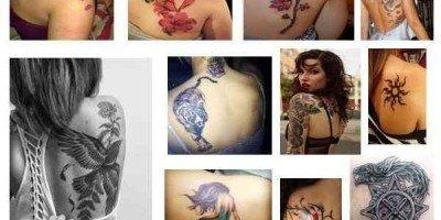 Tamaño adecuado tatuaje en el omóplato para mujer